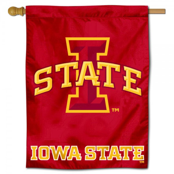 "Iowa State University Decorative Flag is constructed of polyester material, is a vertical house flag, measures 30""x40"", offers screen printed athletic insignias, and has a top pole sleeve to hang vertically. Our Iowa State University Decorative Flag is Officially Licensed by Iowa State University and NCAA."