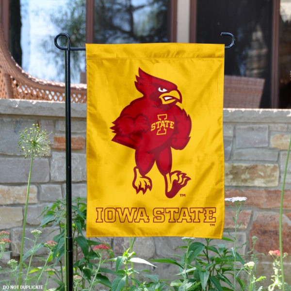 Iowa State University Garden Flag measures 13x18 inches, is made of thick polyester, and has screen printed university logos and lettering. Our Iowa State University Garden Flag is officially licensed by the NCAA and university garden flags are perfect for your garden, entranceway, mailbox, or window.