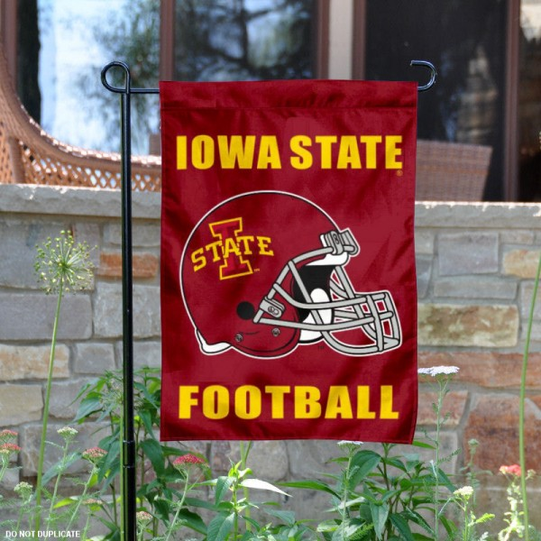 Iowa State University Football Helmet Garden Banner is 13x18 inches in size, is made of 2-layer polyester, screen printed ISU Cyclones athletic logos and lettering. Available with Same Day Express Shipping, Our Iowa State University Football Helmet Garden Banner is officially licensed and approved by ISU Cyclones and the NCAA.