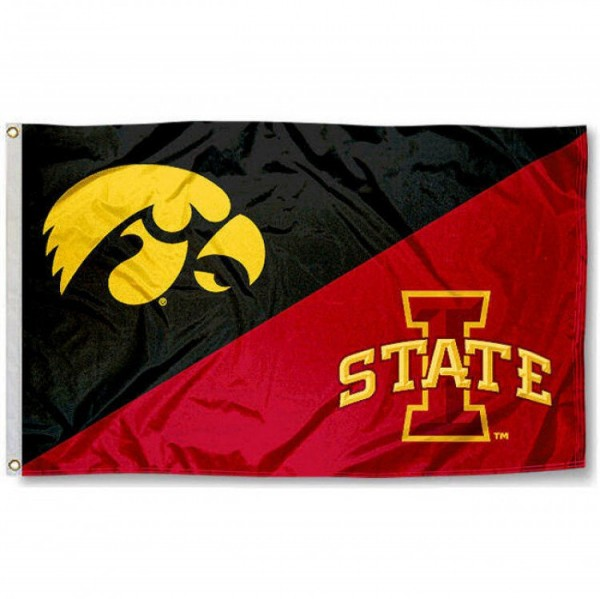 Iowa vs. Iowa State House Divided 3x5 Flag sizes at 3x5 feet, is made of 100% polyester, has quadruple-stitched fly ends, and the university logos are screen printed into the Iowa vs. Iowa State House Divided 3x5 Flag. The Iowa vs. Iowa State House Divided 3x5 Flag is approved by the NCAA and the selected university.
