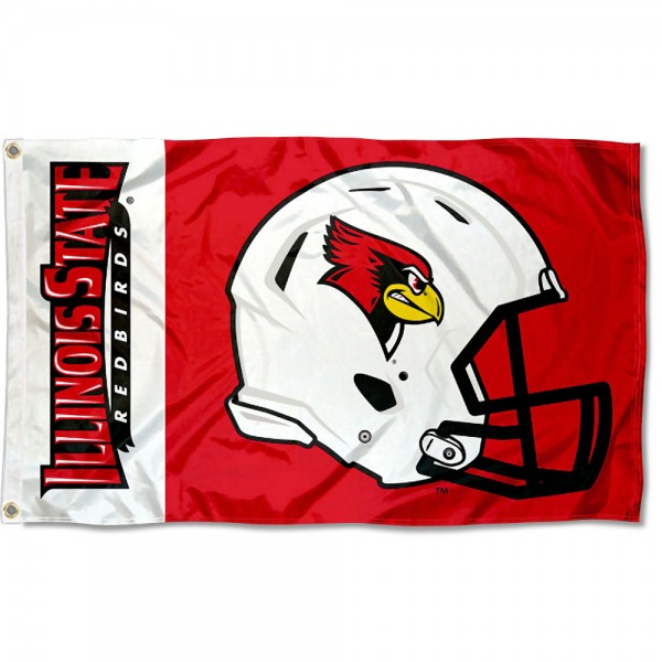 ISU Redbirds Football Helmet Flag measures 3x5 feet, is made of 100% polyester, offers quadruple stitched flyends, has two metal grommets, and offers screen printed NCAA team logos and insignias. Our ISU Redbirds Football Helmet Flag is officially licensed by the selected university and NCAA.