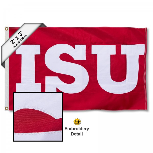 ISU Redbirds Small 2'x3' Flag measures 2x3 feet, is made of 100% nylon, offers quadruple stitched flyends, has two brass grommets, and offers embroidered ISU Redbirds logos, letters, and insignias. Our 2x3 foot flag is Officially Licensed by the selected university.
