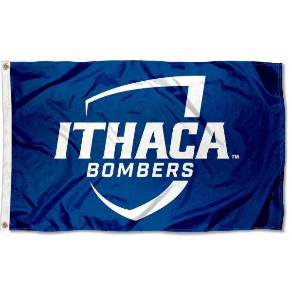 Ithaca Bombers Flag measures 3x5 feet, is made of 100% polyester, offers quadruple stitched flyends, has two metal grommets, and offers screen printed NCAA team logos and insignias. Our Ithaca Bombers Flag is officially licensed by the selected university and NCAA.