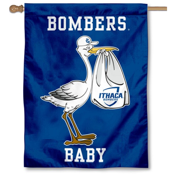 Ithaca Bombers New Baby Flag measures 30x40 inches, is made of poly, has a top hanging sleeve, and offers dye sublimated Ithaca Bombers logos. This Decorative Ithaca Bombers New Baby House Flag is officially licensed by the NCAA.