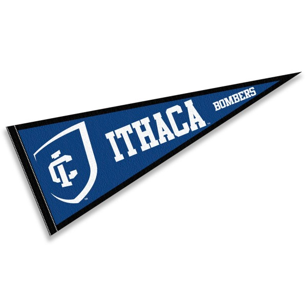 Ithaca Bombers Pennant consists of our full size sports pennant which measures 12x30 inches, is constructed of felt, is single sided imprinted, and offers a pennant sleeve for insertion of a pennant stick, if desired. This Ithaca Bombers Pennant Decorations is Officially Licensed by the selected university and the NCAA.