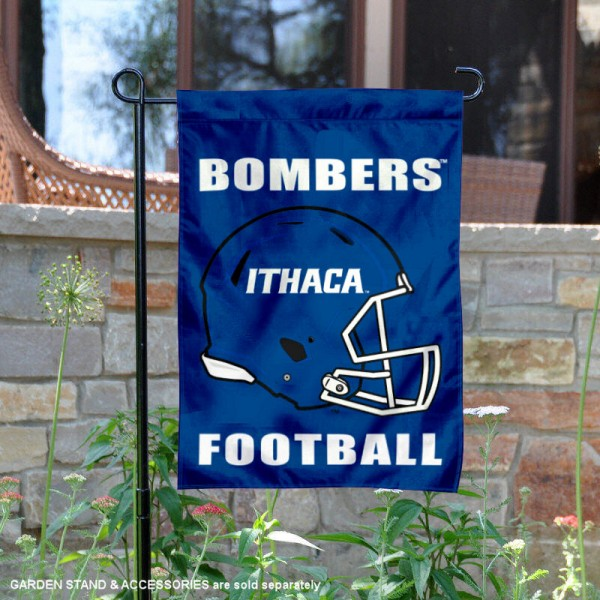 Ithaca College Football Helmet Garden Banner is 13x18 inches in size, is made of 2-layer polyester, screen printed Ithaca College athletic logos and lettering. Available with Same Day Express Shipping, Our Ithaca College Football Helmet Garden Banner is officially licensed and approved by Ithaca College and the NCAA.