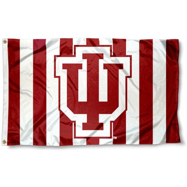 IU Hoosier Candy Stripes Flag measures 3'x5', is made of 100% poly, has quadruple stitched sewing, two metal grommets, and has double sided Indiana University logos. Our IU Hoosier Candy Stripes Flag is officially licensed by the selected university and the NCAA