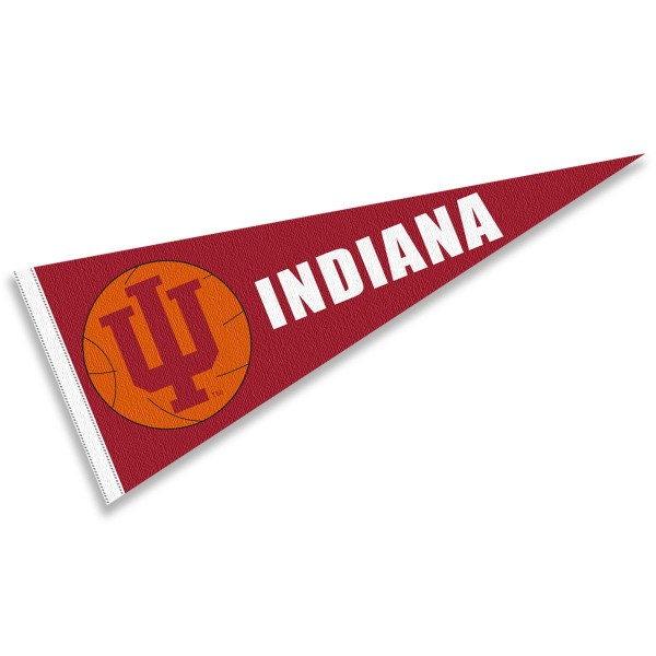 IU Hoosiers Basketball Pennant consists of our full size sports pennant which measures 12x30 inches, is constructed of felt, is single sided imprinted, and offers a pennant sleeve for insertion of a pennant stick, if desired. This IU Hoosiers Pennant Decorations is Officially Licensed by the selected university and the NCAA.