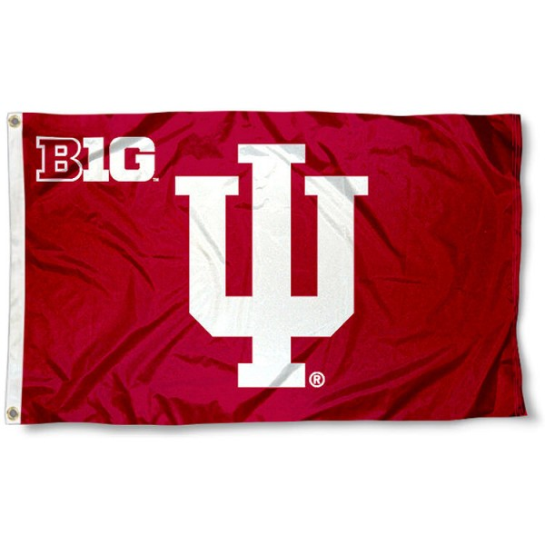 IU Hoosiers Big Ten Flag measures 3'x5', is made of 100% poly, has quadruple stitched sewing, two metal grommets, and has double sided Team University logos. Our IU Hoosiers Big Ten Flag is officially licensed by the selected university and the NCAA.