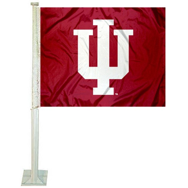 IU Hoosiers Car Window Flag measures 12x15 inches, is constructed of sturdy 2 ply polyester, and has screen printed school logos which are readable and viewable correctly on both sides. IU Hoosiers Car Window Flag is officially licensed by the NCAA and selected university.