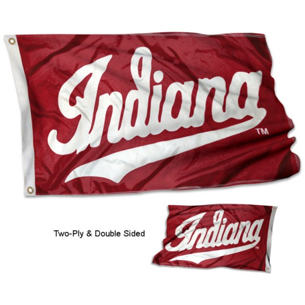 IU Hoosiers Double Sided 3x5 Flag measures 3'x5', is made of 2 layer 100% polyester, has quadruple stitched flyends for durability, and is readable correctly on both sides. Our IU Hoosiers Double Sided 3x5 Flag is officially licensed by the university, school, and the NCAA.