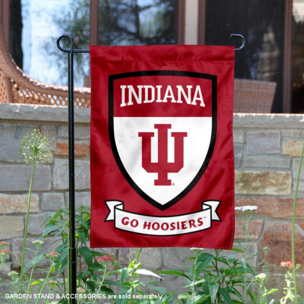 IU Hoosiers Go Hoosiers Shield Garden Flag is 13x18 inches in size, is made of thick blockout polyester, screen printed university athletic logos and lettering, and is readable and viewable correctly on both sides. Available same day shipping, our IU Hoosiers Go Hoosiers Shield Garden Flag is officially licensed and approved by the university and the NCAA.