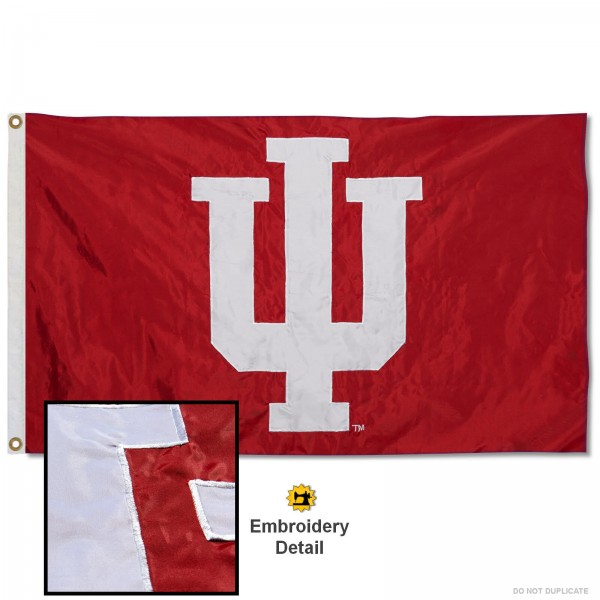 IU Hoosiers Nylon Embroidered Flag measures 3'x5', is made of 100% nylon, has quadruple flyends, two metal grommets, and has double sided appliqued and embroidered University logos. These IU Hoosiers 3x5 Flags are officially licensed by the selected university and the NCAA.