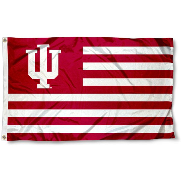 IU Hoosiers Striped Flag measures 3'x5', is made of polyester, offers quadruple stitched flyends for durability, has two metal grommets, and is viewable from both sides with a reverse image on the opposite side. Our IU Hoosiers Striped Flag is officially licensed by the selected school university and the NCAA.