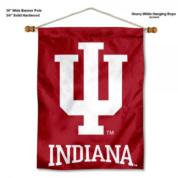 "IU Hoosiers Wall Banner is constructed of polyester material, measures a large 30""x40"", offers screen printed athletic logos, and includes a sturdy 3/4"" diameter and 36"" wide banner pole and hanging cord. Our IU Hoosiers Wall Banner is Officially Licensed by the selected college and NCAA."
