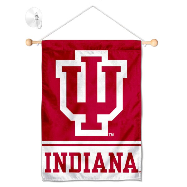 """IU Hoosiers Window and Wall Banner kit includes our 13""""x18"""" garden banner which is made of 2 ply poly with liner and has screen printed licensed logos. Also, a 17"""" wide banner pole with suction cup is included so your IU Hoosiers Window and Wall Banner is ready to be displayed with no tools needed for setup. Fast Overnight Shipping is offered and the flag is Officially Licensed and Approved by the selected team."""
