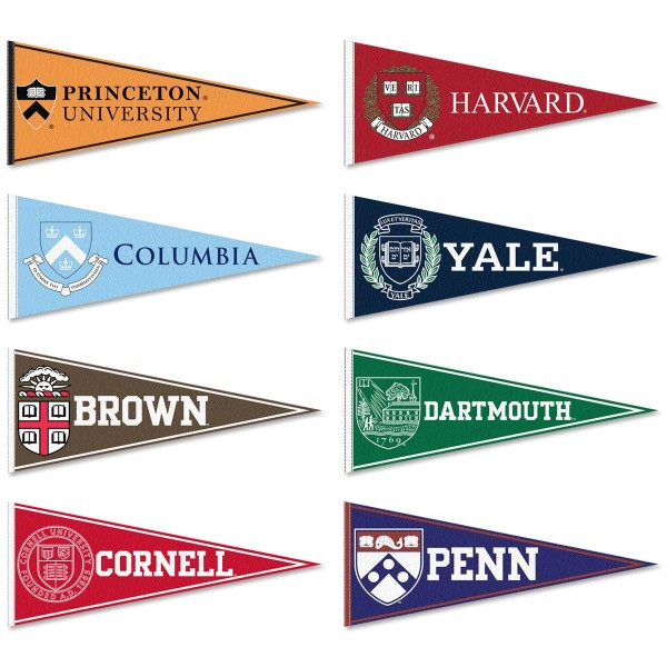 "Inbay League Felt Conference Pennants consists all Ivy League Conference school pennants and measure 12""x30"" each. Each of 8 Ivy Conference teams are included and the Ivy League Felt Conference Pennants are Officially Licensed by the school and NCAA."