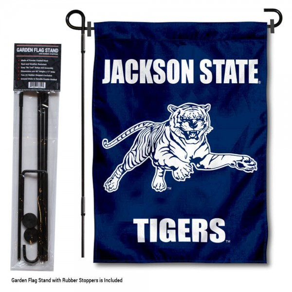 "Jackson State Tigers Garden Flag and Pole Stand kit includes our 13""x18"" garden banner which is made of 2 ply poly with liner and has screen printed licensed logos. Also, a 40""x17"" inch garden flag stand is included so your Jackson State Tigers Garden Flag and Pole Stand is ready to be displayed with no tools needed for setup. Fast Overnight Shipping is offered and the flag is Officially Licensed and Approved by the selected team."