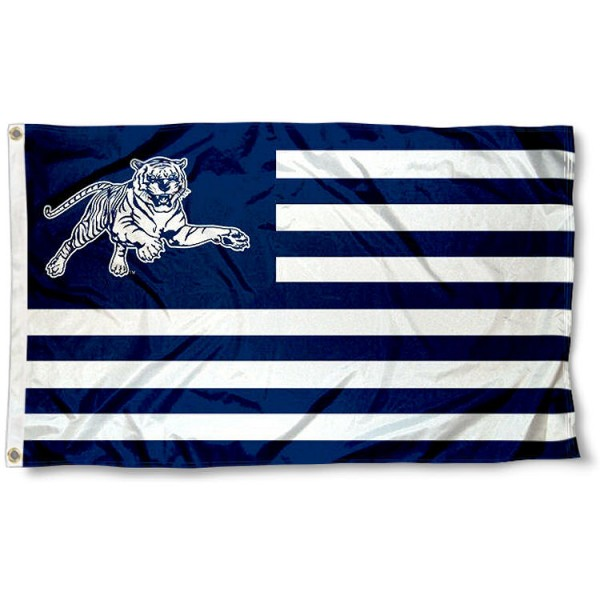 Jackson State Tigers Stripes Flag measures 3'x5', is made of polyester, offers double stitched flyends for durability, has two metal grommets, and is viewable from both sides with a reverse image on the opposite side. Our Jackson State Tigers Stripes Flag is officially licensed by the selected school university and the NCAA.