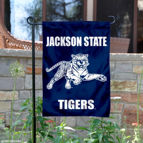Jackson State University Garden Flag is 13x18 inches in size, is made of 2-layer polyester, screen printed university athletic logos and lettering, and is readable and viewable correctly on both sides. Available same day shipping, our Jackson State University Garden Flag is officially licensed and approved by the university and the NCAA.