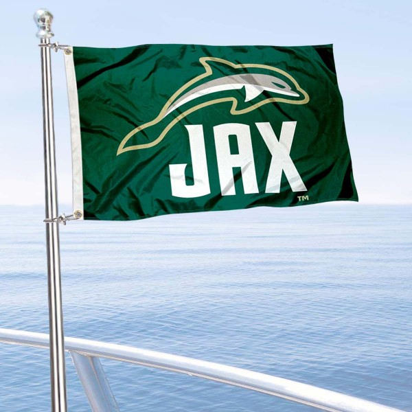 Jacksonville Dolphins Boat and Mini Flag is 12x18 inches, polyester, offers quadruple stitched flyends for durability, has two metal grommets, and is double sided. Our mini flags for Jacksonville University are licensed by the university and NCAA and can be used as a boat flag, motorcycle flag, golf cart flag, or ATV flag.