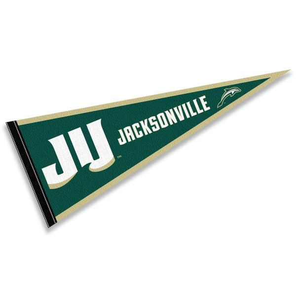 Jacksonville Dolphins Pennant consists of our full size sports pennant which measures 12x30 inches, is constructed of felt, is single sided imprinted, and offers a pennant sleeve for insertion of a pennant stick, if desired. This Jacksonville Dolphins Pennant Decorations is Officially Licensed by the selected university and the NCAA.