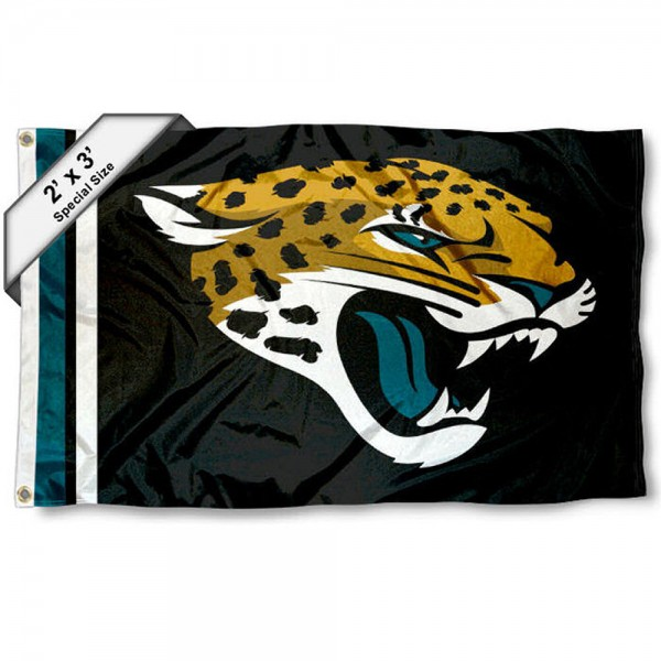 Jacksonville Jaguars 2x3 Feet Flag measures 2'x3', is made polyester, has quadruple stitched flyends, two metal grommets, and offers screen printed NFL Jacksonville Jaguars logos and insignias. Our Jacksonville Jaguars 2x3 Foot Flag is NFL Officially Licensed and approved.
