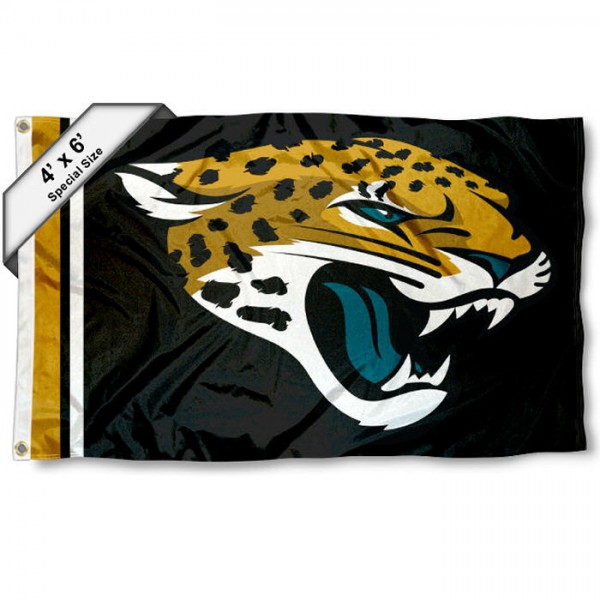 Jacksonville Jaguars 4x6 Flag measures a large 4x6 feet, is made polyester, has quadruple stitched flyends, two metal grommets, and offers screen printed NFL Jacksonville Jaguars logos and insignias. Our Jacksonville Jaguars 4x6 Foot Flag is NFL Officially Licensed and Jacksonville Jaguars approved.