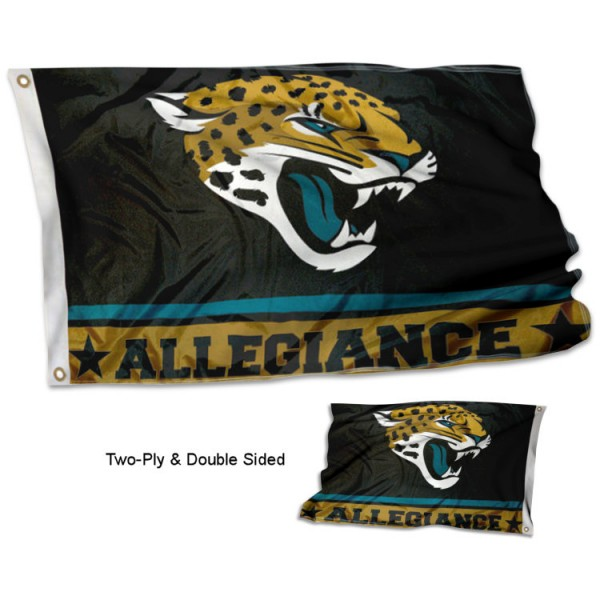 Jacksonville Jaguars Allegiance Flag measures 3'x5', is made of 2-ply double sided polyester with liner, has quadruple stitched sewing, two metal grommets, and has two sided team logos. Our Jacksonville Jaguars Allegiance Flag is officially licensed by the selected team and the NFL and is available with overnight express shipping.