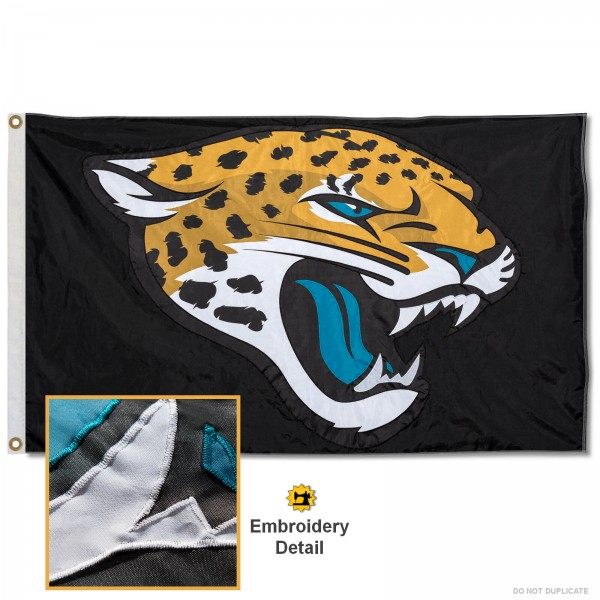 This Jacksonville Jaguars Embroidered Nylon Flag is double sided, made of nylon, 3'x5', has two metal grommets, indoor or outdoor, and four-stitched fly ends. These Jacksonville Jaguars Embroidered Nylon Flags are Officially Approved the Jacksonville Jaguars and NFL.