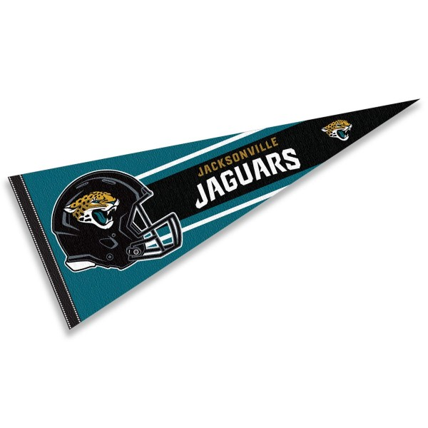 This Jacksonville Jaguars Football Pennant measures 12x30 inches, is constructed of felt, and is single sided screen printed with the Jacksonville Jaguars logo and helmets. This Jacksonville Jaguars Football Pennant is a NFL Officially Licensed product.