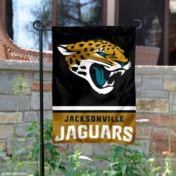 Jacksonville Jaguars Garden Flag is 12.5x18 inches in size, is made of 2-ply polyester, and has two sided screen printed logos and lettering. Available with Express Next Day Ship, our Jacksonville Jaguars Garden Flag is NFL Officially Licensed and is double sided.
