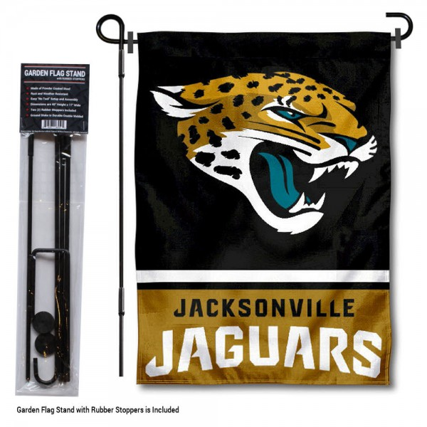 "Jacksonville Jaguars Garden Flag and Stand kit includes our 13""x18"" garden banner which is made of 2 ply poly with liner and has screen printed licensed logos. Also, a 40""x17"" inch garden flag stand is included so your Jacksonville Jaguars Garden Flag and Stand is ready to be displayed with no tools needed for setup. Fast Overnight Shipping is offered and the flag is Officially Licensed and Approved by the selected team."
