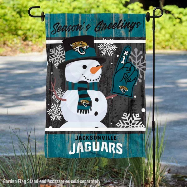 Jacksonville Jaguars Holiday Winter Snow Double Sided Garden Flag is 12.5x18 inches in size, is made of 2-ply polyester, and has two sided screen printed logos and lettering. Available with Express Next Day Ship, our Jacksonville Jaguars Holiday Winter Snow Double Sided Garden Flag is NFL Officially Licensed and is double sided.