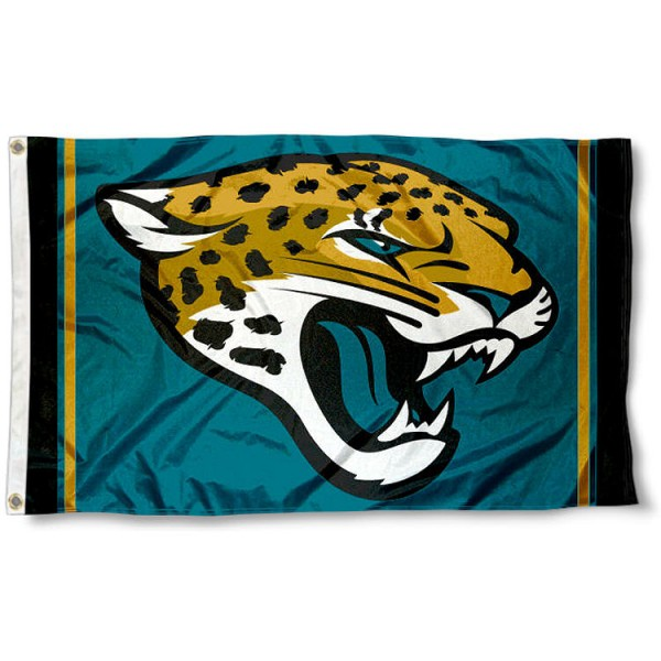 Our Jacksonville Jaguars Logo Flag is double sided, made of poly, 3'x5', has two metal grommets, indoor or outdoor, and four-stitched fly ends. These Jacksonville Jaguars Logo Flags are Officially Licensed by the NFL.