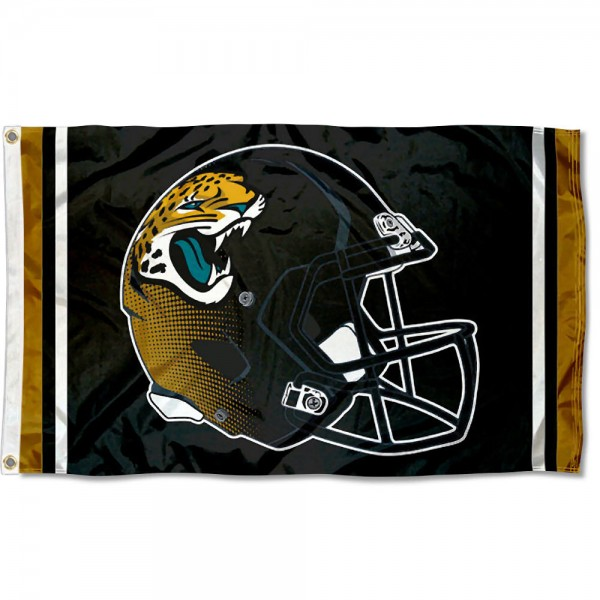 Our Jacksonville Jaguars New Helmet Flag is two sided, made of poly, 3'x5', Overnight Shipping, has two metal grommets, indoor or outdoor, and four-stitched fly ends. These Jacksonville Jaguars New Helmet Flags are Officially Approved by the Jacksonville Jaguars.