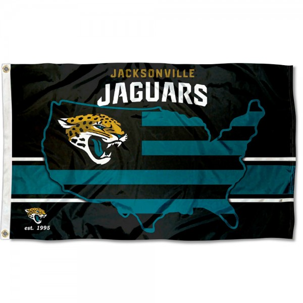 Our Jacksonville Jaguars USA Country Flag is double sided, made of poly, 3'x5', has two metal grommets, indoor or outdoor, and four-stitched fly ends. These Jacksonville Jaguars USA Country Flags are Officially Approved by the Jacksonville Jaguars.