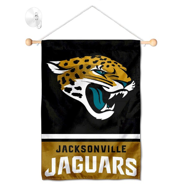 """Jacksonville Jaguars Window and Wall Banner kit includes our 12.5""""x18"""" garden banner which is made of 2 ply poly with liner and has screen printed licensed logos. Also, a 17"""" wide banner pole with suction cup is included so your Jacksonville Jaguars Window and Wall Banner is ready to be displayed with no tools needed for setup. Fast Overnight Shipping is offered and the flag is Officially Licensed and Approved by the selected team."""