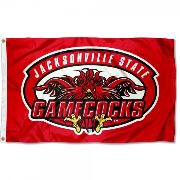 Jacksonville State Gamecocks Flag measures 3x5 feet, is made of 100% polyester, offers quadruple stitched flyends, has two metal grommets, and offers screen printed NCAA team logos and insignias. Our Jacksonville State Gamecocks Flag is officially licensed by the selected university and NCAA.