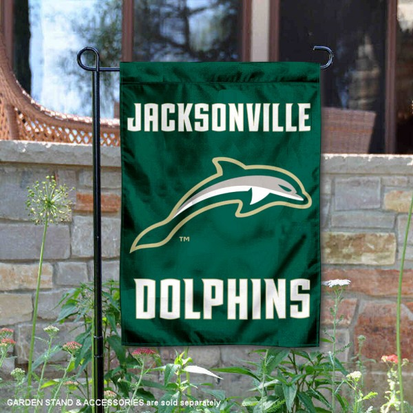 Jacksonville University Dolphins Garden Flag is 13x18 inches in size, is made of 2-layer polyester, screen printed university athletic logos and lettering, and is readable and viewable correctly on both sides. Available same day shipping, our Jacksonville University Dolphins Garden Flag is officially licensed and approved by the university and the NCAA.