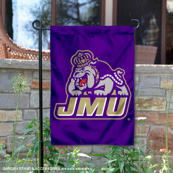 James Madison Dukes Garden Flag is 13x18 inches in size, is made of 2-layer polyester, screen printed university athletic logos and lettering, and is readable and viewable correctly on both sides. Available same day shipping, our James Madison Dukes Garden Flag is officially licensed and approved by the university and the NCAA.