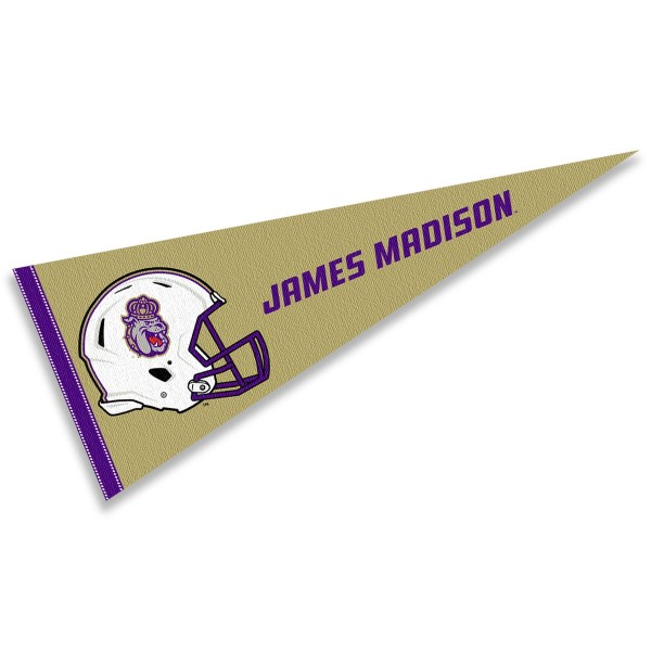 James Madison Dukes Helmet Pennant consists of our full size sports pennant which measures 12x30 inches, is constructed of felt, is single sided imprinted, and offers a pennant sleeve for insertion of a pennant stick, if desired. This James Madison Dukes Pennant Decorations is Officially Licensed by the selected university and the NCAA.