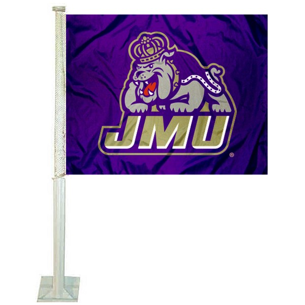 James Madison Dukes Logo Car Flag measures 12x15 inches, is constructed of sturdy 2 ply polyester, and has screen printed school logos which are readable and viewable correctly on both sides. James Madison Dukes Logo Car Flag is officially licensed by the NCAA and selected university.