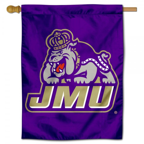 James Madison Dukes New Logo Double Sided House Flag is a vertical house flag which measures 30x40 inches, is made of 2 ply 100% polyester, offers screen printed NCAA team insignias, and has a top pole sleeve to hang vertically. Our James Madison Dukes New Logo Double Sided House Flag is officially licensed by the selected university and the NCAA.