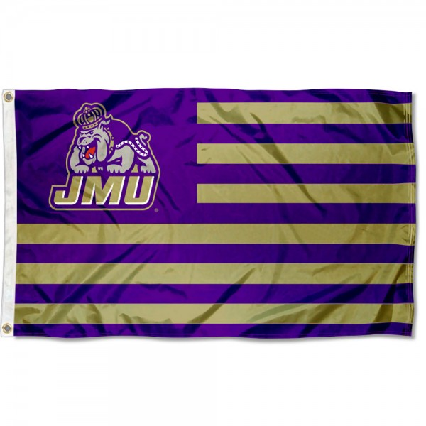 James Madison Dukes Stripes Flag measures 3'x5', is made of polyester, offers double stitched flyends for durability, has two metal grommets, and is viewable from both sides with a reverse image on the opposite side. Our James Madison Dukes Stripes Flag is officially licensed by the selected school university and the NCAA.