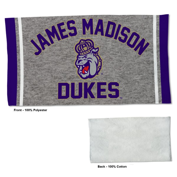 James Madison Dukes Workout Exercise Towel measures 22x42 inches, is made of 100% Polyester on the front and 100% Cotton on the back, has double stitched sewing perimeter, and Graphics and Logos, as shown. Our James Madison Dukes Workout Exercise Towel is officially licensed by the selected university and the NCAA. Also, machine washable and dryer safe.