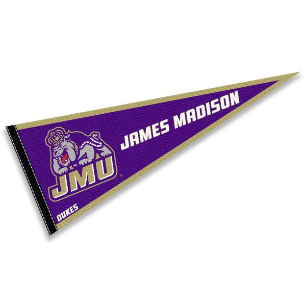 James Madison University Decorations measures a full size 12x30 inches, is constructed of felt, is single sided imprinted, and offers a pennant sleeve for insertion of a pennant stick, if desired. This James Madison University Decorations is officially licensed by the selected university and the NCAA