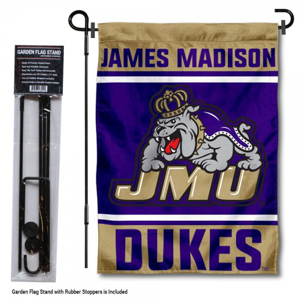 """James Madison University Garden Flag and Stand kit includes our 13""""x18"""" garden banner which is made of 2 ply poly with liner and has screen printed licensed logos. Also, a 40""""x17"""" inch garden flag stand is included so your James Madison University Garden Flag and Stand is ready to be displayed with no tools needed for setup. Fast Overnight Shipping is offered and the flag is Officially Licensed and Approved by the selected team."""