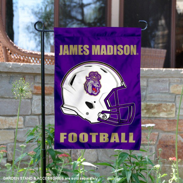 James Madison University Football Helmet Garden Banner is 13x18 inches in size, is made of 2-layer polyester, screen printed James Madison University athletic logos and lettering. Available with Same Day Express Shipping, Our James Madison University Football Helmet Garden Banner is officially licensed and approved by James Madison University and the NCAA.