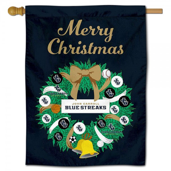 JCU Blue Streaks Happy Holidays Banner Flag measures 30x40 inches, is made of poly, has a top hanging sleeve, and offers dye sublimated JCU Blue Streaks logos. This Decorative JCU Blue Streaks Happy Holidays Banner Flag is officially licensed by the NCAA.